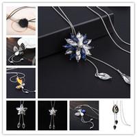 Wholesale Swan Leaf - Elegant Long Necklace Fish Key Leaf Swan Flower Butterfly Clover Crystal Women Pendant Necklace Sweater Chain Jewelry