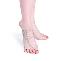 Wholesale Wholesale Custom Sandals - New arrival Beach Fashion Multi Tassel Toe Chain body jewelry Foot Jewelry Anklet for women custom