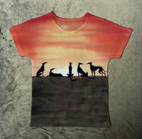 Wholesale Fast Fresh - Wholesale- Track Ship+New Fresh Hot T-shirt Top Tee Fastest Greadog Greyhound Grey Hound Dog Under Orange Sunset 1387