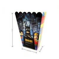 Wholesale Paper Popcorn Boxes - 24pcs lot Cartoon Popcorn Boxes The Lego Batman Birthday Party Baby Shower Party Decoration + 24pcs Lego Batman Tattoo Stickers