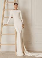 Wholesale Chiffon Smooth - Simple 2016 Sheath Ivory Evening Dresses With Bateau Neck Backless Long Sleeve Evening Gowns Smooth Chiffon Formal Dresses Evening Wear