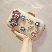 Wholesale Beautiful Dimensional Applique - wholes package exquisite diamond three-dimensional flower woman hand bag beautiful woman Handmade leather evening bag Clutch wedding banquet