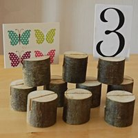 Wholesale Place Cards Wedding Reception - Wooden Seat Folder Place Cards Holder Rustic Photo Wedding Cards Wedding Place Card Table Reception Home Decoration Table Number Name Holder