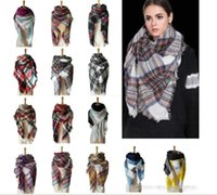 Wholesale Funny Halloween Costumes Women - 40 Colors 140cm Plaid Blanket Scarves headbands Tartan Tassels women Scarf Striped Fashion Wraps Check Grid Neckerchief Winter Lattice Shawl
