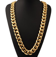 Wholesale Chunky Yellow Jewelry - New Hot HipHop Jewelry 90cm Long Chunky Necklace Yellow Gold Plated 21mm Width Statement Men Chain Necklace Wholesale