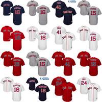 Wholesale Boston Sales - Boston Red Sox 16 Andrew Benintendi 41 Chris Sale 15 Dustin Pedroia 34 David Ortiz Jerseys Flexbase Cool Base MLB Red White baseball jersey