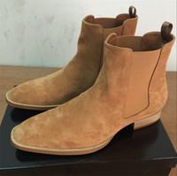 Wholesale Mens Cowboy Boots Brands - NEW style Top quality 5color euro 37-46 designer men shoes luxury brand Chelsea mens boots shoes