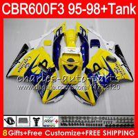 Wholesale Corona Fairings Red - 8 Gifts 23 Colors For HONDA CBR600F3 95 96 97 98 CBR600RR FS CORONA Yellow 2HM3 CBR600 F3 600F3 CBR 600 F3 1995 1996 1997 1998 blue Fairing