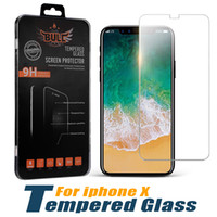 Wholesale Packaging For Retail - For iPhone X Screen Protector Tempered Glass For iPhone 7 Plus Cell Phone Protective Film 9H Hardness Screen Protector with Retail Package