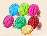 Wholesale Cookie Embosser - New Cookies Stamp Cartoon Silicone Fondant Biscuits Mold Embosser Letters Wooden Handle Stamps Mold DIY Home Baking Made Set of 3PCS