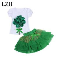 Wholesale T Shirt Layered Skirts - Wholesale- Girls Clothing Sets 2017 New Kids Clothes Elsa Dress+Flower T-shirt 2Pcs Outfits Layered Tutu Dress Sets Baby Girls Skirt Suits