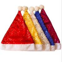 Wholesale Bling Santa Hat - Bling Happy Christmas Hat New Year Celebration Santa Claus Caps With Sequins Unisex Adult Kids Festival Party Accessaries