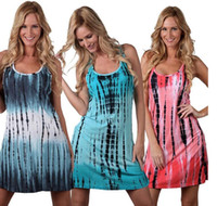 Wholesale Simple Beach Clothing - Women Sleeveless Sundress Sexy Print Vest Dress Simple Fashion Dresses Summer Casual Dress Loose Beach Dresses Tank Top Dress Clothing