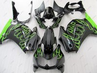 kawasaki ninja ex fairing toptan satış-Plastik Kaplamalar Ninja 250R 2010 ABS Fairing EX250 08 09 Siyah Yeşil Alev Tam Vücut Kitleri EX 250 2014 2008 - 2014