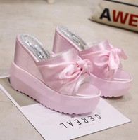 Wholesale Pink Wedges Bow - 2017 Summer New Sweet Bow Wedge Slippers Women Thick Bottom Cloth Cover Platform Sandals Fashion High Heels Slides