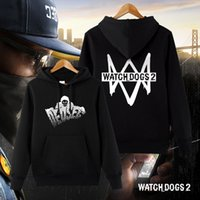 Atacado - Watch Dogs 2 Hoodies Dedsec Coat Men's Winter HoodieSweatshirts manga comprida Casual Cotton Tops Halloween Christmas Gift