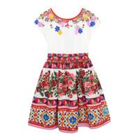 Wholesale Toddler Shorts For Summer - Toddler Girls Dresses Summer 2017 Brand Robe Princesse Fille Children Dress for Kids Girl Princess Dress Floral Girl Party Dress