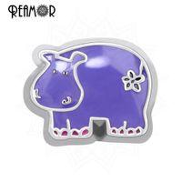 Wholesale Hippo Charms - Wholesale-REAMOR Purple Hippo Charms Floating Alloy Enamel Carton Animal Charms for Floating lockets Wholesale