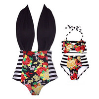 Wholesale Swimsuit Mother - Mother and baby Girls swimsuit kids swimwear 2pc set halterneck top+shorts mothers striped flower halterneck bikini summer beach clothes