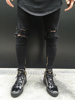 Wholesale Jeans Thigh Holes - 2017 hot sell high quality men Skinny jeans Big hole in knee pants thigh ankle zipper hip hop black Ripped biker motorcycle