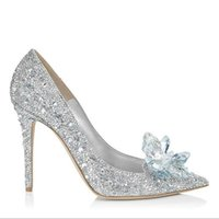 Wholesale Bright Silver Charms - 2016 new romantic bride wedding shoes bright and moving crystal shoes