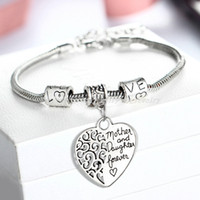 Wholesale Charms Bar - Wholesale- 2016 Heart Bracelet Silver Plated Love Between Mother And Daughter Family Gifts Mother's Day Jewelry Bangle Bracelets Charm