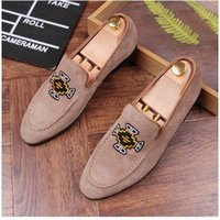 Wholesale Driving Mocassins - New 2017 mens fashion velvet embroidery loafers pointed toe slip on flat casual shoes driving mocassins black Blue shoes AXX401