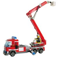 Wholesale Plastic Fireman - odels Building Toy Blocks High Quality Fire Fighting Truck Building Blocks CITY Fire Educational Bricks Toys Fireman DIY Bricks Brinquedo...