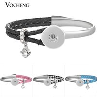Wholesale Genuine Crystal Bracelets - VOCHENG NOOSA Ginger Snap Charms Bracelet Alloy Genuine Leather Combo Bangle with Crystal for 18mm Interchangeable Jewelry NN-603