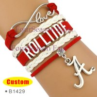 Wholesale Alabama Charms - Custom-Infinity Love Alabama State Crimson Tide ROLLTIDE Athletic college Team Sports Football Bracelet Adjustable Bangles-Drop Shipping