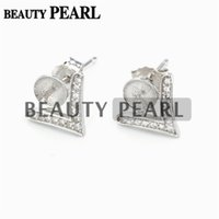 Bulk of 3 Pairs V Shape Earrings Zircon 925 Sterling Silver DIY Pearl Jewellery Findings Stud Mount