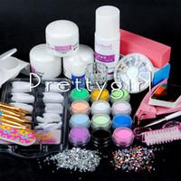 Wholesale glitter nail art pens - Wholesale- New Pro Item Nail Art Liquid Powder Brush Pen Glitter Powder Decoration Cuticle Acrylic Nail Kit Manicure Tools Sets