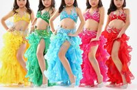 Wholesale Dancing Curls - high quality girl Belly Dance dress kid tops Curling skirt belt Dancer Costume Set Jazz Latin dance Clothes Practice Suit