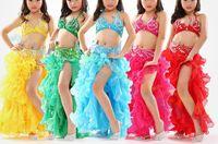 Wholesale Jazz Kids Clothes - high quality girl Belly Dance dress kid tops Curling skirt belt Dancer Costume Set Jazz Latin dance Clothes Practice Suit