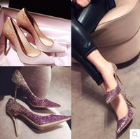 Wholesale Pink Bling High Heels - Bridal Shoes Sequins Stiletto Heel Beautiful Luxurious Bling Bling Wedding Shoes Pointed Toe Bridal Accessories Wedding Events
