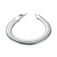Wholesale chunky chain link bracelets - Fashion Men's Cuban Link Chain Bracelet Fashion Mens Stainless Steel Chunky Snake Chain Bracelet Cuff Wrist Band 7.87 inch
