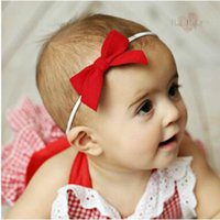 Wholesale Models Hair Bows - Manual Crochet bow hair lead the circumference hair accessories model of baby 12 colors shipping free