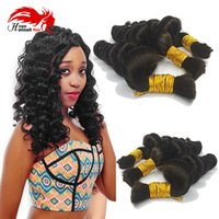 Wholesale braid black hair american online - Human Hair For Micro Braids Loose Curly Human Braiding Hair gram No Weft Bulk Hair For African American Natural Black