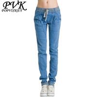 Wholesale Women Harem Brand Jeans - Wholesale- 2016 new brand female casual slim jeans, women's elastic mid waist fashion cotton jeans plus size denim harem pants for woman