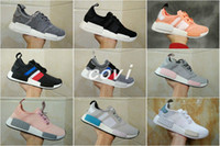Wholesale Tri Color Mens Leather Shoes - NMD R1 Primeknit Tri color Pink Black Triple OG Running Mens Shoes Nmds Runner Primeknit Sneakers Originals Classic Casual Shoes