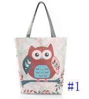 Wholesale owl single shoulder handbag - Cartoon Owl Print Casual Tote Lady Canvas Beach Bag Female Handbag Large Capacity Daily Use Women Single Shoulder Shopping Bags