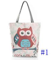 bayanlar çantalar kullanır toptan satış-Karikatür Baykuş Baskı Casual Tote Lady Tuval Plaj Çantası Kadın Çanta Büyük Kapasiteli Günlük Kullanım Kadınlar Tek Omuz Alışveriş Çantaları