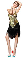 Wholesale Dance Show Costumes - Red Gold Green Silver Knee Length Sequin Finge Salsa Dance Performance Show Dress Costumes Clothes Wear Outfits for Adults Cheap