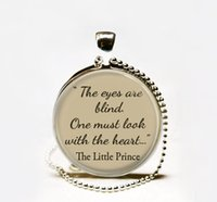 blind art - Hot Fashion The Little Prince quote Glass Dome Art Pendant quot The eyes are blind One must look with the heart quot Inspirational words neckl