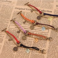 Wholesale Vintage Jewelry Wholesale Europe - Europe and the United States twelve constellation licensing round rope ring Bracelet Vintage Jewelry personality Bracelet