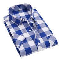 Wholesale Checked Slim Fit Shirt - Wholesale- Summer 2017 Men's Short Sleeve Buffalo Plaid Shirt Business Formal Slim-fit Single Chest Pocket Breathable Checks Dress Shirts