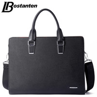 Atacado- Bostanten New Men Split Leather Briefcase Laptop 13 polegadas Men Briefcase Business Bag Masculino Shoulder Bag Crossbody Bolsa Tote Bolsa