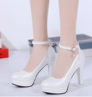 New Arrival Hot Sale Specials Sweet Girl Boa qualidade Noble Sexy Elegant Belt Buckle Shining Club Party Platform Single Heel Shoes EU34-43