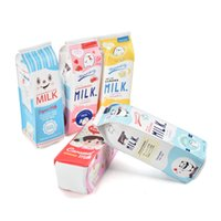 Wholesale Milk Candy - New Arrival Cartoon Cosmetic Bag Cute Candy Pencil Cases Milk box Wholesale Travel bag Simple Light Practical Bag LBQ472