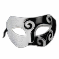 Wholesale Halloween Greek Costumes - Wholesale-Black&White Roman Greek Mens Venetian Halloween Costume Party Masquerade Mask